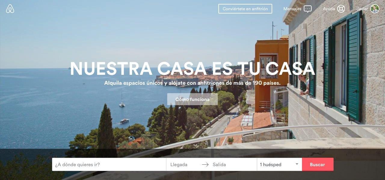 Página de inicio de Airbnb