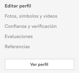 Menú para editar tu perfil en Airbnb