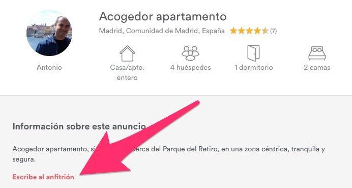 Escribir al anfitrión en Airbnb